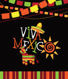 Viva Mexico  hand drawn type design. Royalty Free Stock Images
