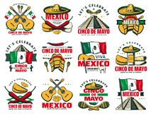 Viva Mexico icon for Cinco de Mayo mexican holiday. Celebration. Fiesta party sketch symbol of chili pepper, jalapeno and sombrero, maracas, guitar and mexican Stock Images