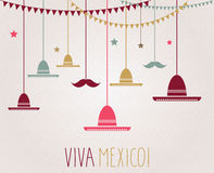 Viva Mexico. Independence Day. Hanging colorful sombrero and mustache. Vector illustration Royalty Free Stock Photos