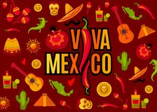 Viva Mexico lettering and icon set. Viva Mexico lettering and icon collection. Vector illustration