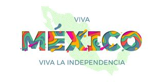 Viva Mexico lettering Independence day Mexican vector national symbol flag map color Royalty Free Stock Image