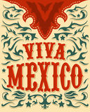 Viva Mexico - mexican holiday poster - western style stock illustration