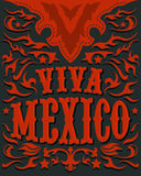 Viva Mexico - mexican holiday poster - western style Stock Photography