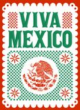Viva Mexico mexican holiday vector poster, street decoration illustration. stock illustration