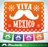 Viva Mexico - mexican mustache holiday stock illustration