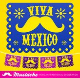 Viva Mexico, mexican mustache holiday vector decoration royalty free illustration