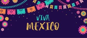 Viva Mexico - mexicansk Fiestabaner- och affischdesign med flaggor, blommor, garneringar vektor illustrationer