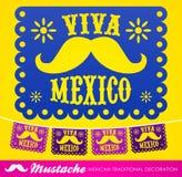 Viva Mexico mexikansk garnering för mustaschferievektor royaltyfri illustrationer
