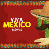 Viva Mexico plakata ikona Zdjęcie Stock