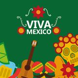 Viva mexico poster celebration festival decoration. Vector illustration Stock Photography