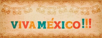 Viva mexico quote web banner for holiday event. Viva mexico quote banner with colorful text decoration and vintage paper texture. Festive mexican illustration Royalty Free Illustration