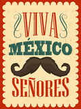 Viva Mexico Senores - Viva Mexico gentlemen spanish text vector illustration