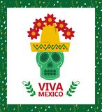 Viva mexico skull hat and flower card Royalty Free Stock Image
