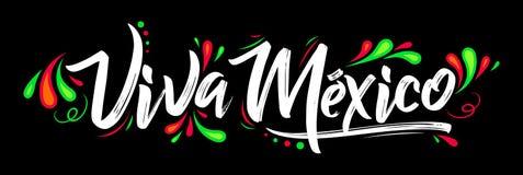 Viva Mexico traditionell mexikansk uttrycksferie som märker Royaltyfri Bild