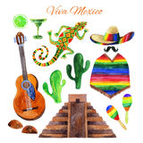 Viva Mexico watercolor set Royalty Free Stock Image