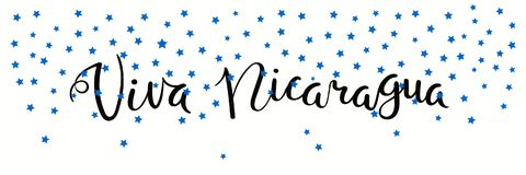 Viva Nicaragua banner. Banner template with calligraphic Spanish lettering quote Viva Nicaragua with falling stars, in flag colors. Isolated objects. Vector Stock Photography
