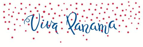 Viva Panama banner. Banner template with calligraphic Spanish lettering quote Viva Panama with falling stars, in flag colors. Isolated objects. Vector Royalty Free Stock Photo