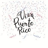 Viva Puerto Rico lettering quote. Hand written calligraphic Spanish lettering quote Viva Puerto Rico with confetti in flag colors. Isolated objects. Vector Royalty Free Stock Image