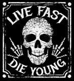 Viva rápido mueren diseño joven del grunge del vector con el cráneo humano ilustración del vector