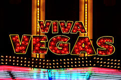 Viva Vegas illuminated sign. At night royalty free stock images