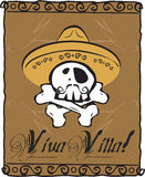 Viva Villa Skull. Ilustration skull whit Mexican hat from Villa Stock Photo
