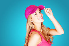 Vivacious beautiful blond woman Stock Images