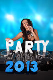 Vivacious DJ with PARTY 2013 in text Royalty Free Stock Photos