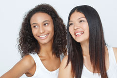 Vivacious friends keeping glance up Royalty Free Stock Photos