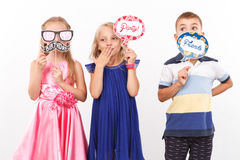Vivacious friends showing emotions Stock Photo