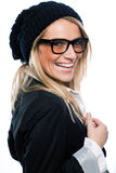 Vivacious woman in a black beret Royalty Free Stock Images