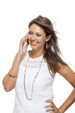 Vivacious woman reacting to a text message Royalty Free Stock Photos
