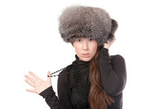 Vivacious woman in winter outfit Stock Images