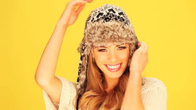 Vivacious Woman In Woolly Winter Hat stock video