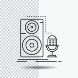 Vivant, MIC, microphone, disque, ligne saine icône sur le fond transparent Illustration noire de vecteur d'ic?ne illustration stock
