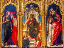 Vivarni Saint Mark Enthroned Painting Santa Maria Gloriosa de Fr. Barolomeo Vivarni Saint Mark Enthroned Painting Stained Glass Santa Maria Gloriosa de Frari Stock Photography