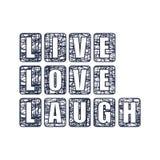 vive el texto del amor de la risa stock de ilustración