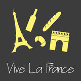 Vive la France celebration symbols simple banner eps10 Stock Photo