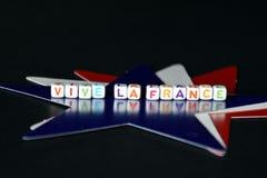 VIVE-LA FRANKREICH mit roten weißen und blauen französischen Sternen Stockfotografie