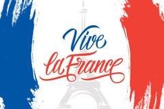 Vive la Frankrike firar borsteslaglängdbanret med Eiffeltorn och den handskrivna inskriften för fransk nationell dag stock illustrationer