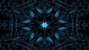 Vive la mandala azul del fractal, túnel video con brillar intensamente media en fondo negro Modelos simétricos que calman animado libre illustration