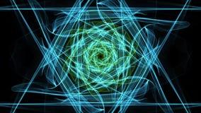 Vive la mandala verde del fractal, túnel video en fondo negro Modelos simétricos animados para el espiritual y la meditación ilustración del vector