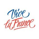 Vive laFrankrike handskriven inskrift Idérik typografi för den franska nationella dagen, Juli 14, Bastilledag royaltyfri illustrationer