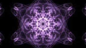Vive a mandala roxa do fractal, túnel video no fundo preto Testes padrões simétricos animados para o espiritual e a meditação video estoque