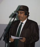 Vivek Singhania at the Comedy Cluj Awards Ceremony. Movie producer and writer, member of the jury of the Comedy Cluj Festival, reading his nominations at the royalty free stock photo