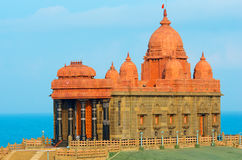 Vivekananda岩石纪念品在科摩林角,印度 免版税库存照片