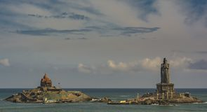 Vivekananda Rock Memorial and Thiruvalluvar Statue. Eye-to-Eye view of the Tourist Attractions at Kanyakumari. Vivekananda Rock Memorial is a popular tourist royalty free stock photos