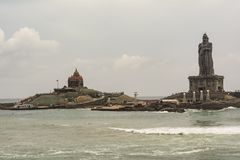 Vivekananda Rock Memorial and Thiruvalluvar Statue. Eye-to-Eye view of the Tourist Attractions at Kanyakumari. Vivekananda Rock Memorial is a popular tourist royalty free stock photography