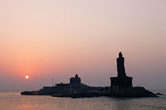 Vivekananda and Thiruvalluvar statues Royalty Free Stock Photography