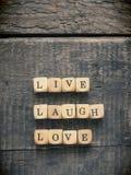 Vivent le concept d'amour de rire Photos stock