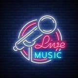 Vivent le logo au néon de vecteur musical, signe, l'emblème, affiche de symbole avec le microphone Affiche lumineuse de bannière, illustration de vecteur